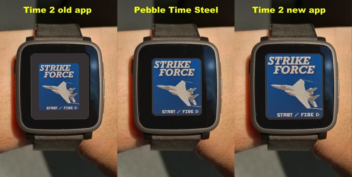 Pebble time 2 screencomparsion