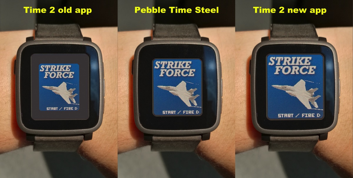 Pebble time 2 screencomparsion