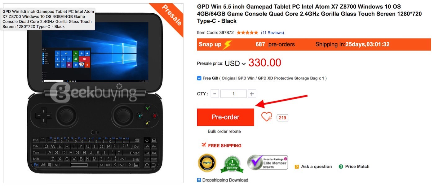 How to order a gpd win from geekbuying 00005